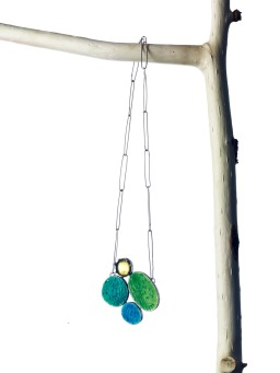Miranda Sharpe green amber & textured enamel necklace