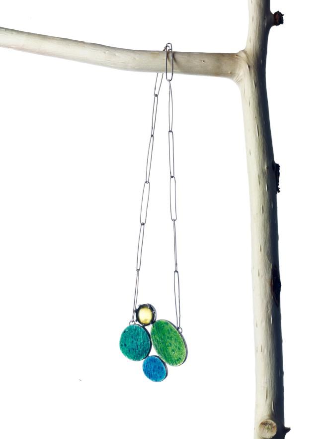 Miranda Sharpe green amber & textured enamel necklace