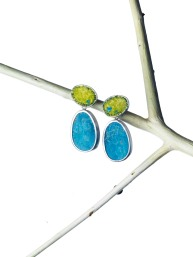 Miranda Sharpe turquoise & yellow enamel earrings